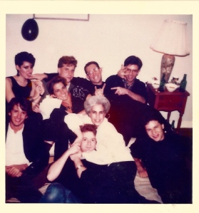 star hits1984ish -  top: Suzan Colon, Alicia Keshishian, deputy editor Mark Coleman, David Keeps, designer Michael Ottersen, Steve Korte, contributor Drew Wheeler in headlock with Susan Freeman, the office manager, and fotog Andy Freeberg