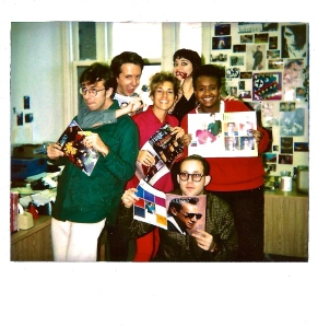 Star Hits 1986ish from left - Michael Ottersen, Steve Korte, Alicia Keshishian, Suzan Colon (Swing out Sister haircut), David Keeps, CrystalBrown. I don't know why we are all holding Image magazine. Not a clue.  This is the editorial bullpen.
