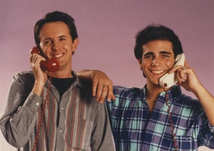 STAR HITS was waning, but there was an army of movie and TV teen stars waiting to be interviewed for WOW. Here is editor Steve Korte enacting a strange pantomime phone call with soap opera actor Brian Bloom. Brian's later claim to fame was showering naked on the HBO prison show OZ. - Steve